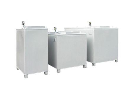 Rombicus® 1000 Doppelwandiger Lagerbehälter aus Stahl für wassergefährdende Flüssigkeiten Zulassung DIBt Z-38.12-259, Inhalt 1000 Liter, Vakuum-Lecküberwachung, mech. Inhaltsanzeige – Bild 1