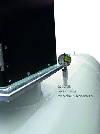 Tubicus® 3000l doppelwandiger Lagerbehälter nach DIN 6624-2, mit Vakuum Lecküberwachung, lackiert in RAL7032 lichtgrau, Grenzwertgeber, Füllrohr mit TW Anschluss, Volumen ca. 2850l (95%), 4050 x 1000 x 1400 mm (LxBxH) – Bild 2