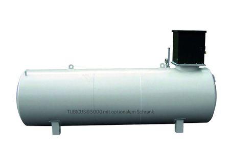 Tubicus® 3000l doppelwandiger Lagerbehälter nach DIN 6624-2, mit Vakuum Lecküberwachung, lackiert in RAL7032 lichtgrau, Grenzwertgeber, Füllrohr mit TW Anschluss, Volumen ca. 2850l (95%), 4050 x 1000 x 1400 mm (LxBxH) – Bild 1