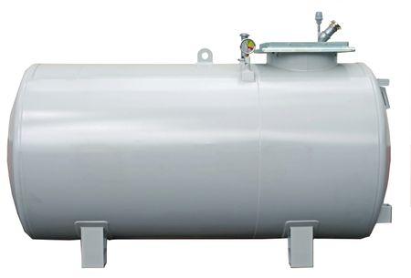 5000 Liter doppelwandiger, zylindrischer Lagerbehälter nach DIN 6624-2, ohne Pumpe, Vakuum Lecküberwacht, lackiert in RAL7032 lichtgrau, 4360 x 1250 x 1700mm (LxBxH) – Bild 1