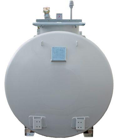 5000 Liter doppelwandiger, zylindrischer Lagerbehälter nach DIN 6624-2, ohne Pumpe, Vakuum Lecküberwacht, lackiert in RAL7032 lichtgrau, 4360 x 1250 x 1700mm (LxBxH) – Bild 2