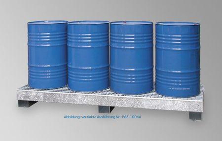 Auffangwanne CW4L aus lackiertem Stahl für 4 x 200 l Fässer, mit verzinkter Gitterrostauflage