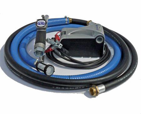 Tragbare Dieselpumpe 12V im Set, Schalter, 40 l/min., 4m Batteriekabel mit Klemmen u. Sicherung, 4m Zapfschlauch, 2m Saugschlauch mit Sieb, manuelle Zapfpistole