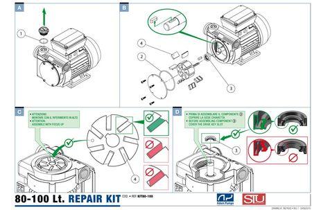 Ersatzteil-Set für Pumpe PA2-80, PA2-100 und PA3-150 von Adam Pumps und Tuthill Italia:  7 x Gleitflügel, 1x Wellendichtring, O-Ring Satz – Bild 2