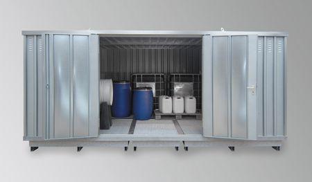 Sicherheitslagerhaus 4x3m verzinkt, kompl. montiert, mit Doppeltür und DiBt Zulassung, Auffangvolumen 2 x 1000l