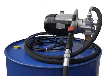 """230V Zahnradpumpe Modell EZP200 mit Saugrohr für 200 Liter Fass 4m 1/2"""" Ölschlauch, Zapfventil für Öle mit 1/2"""" Anschlussdrehgelenk, flex. Auslauf mit 90° Winkel und Anti-Tropfventil – Bild 1"""