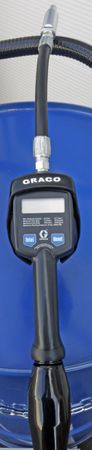 Fahrwagen für 200 Liter Fass m. 2 feststellbaren Lenkrollen u. 2 Bockrollen, 230V Zahnradpumpe Viscomat 200, GRACO® Handdurchlaufzähler LDM5-F, 3m Ölschlauch – Bild 2