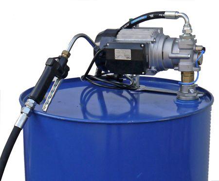 230V Zahnradpumpe Modell EZP200 mit Saugrohr für 200 Liter Fass, 4m Ölschlauch DN12,  Zapfventil mit Auslauf und Tropfschutzventil