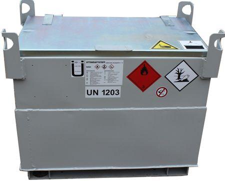 Doppelwandiger Kraftstoffbehälter 100 Liter Volumen, Transportzulassung als Verpackung ohne wiederkehrende Prüfung. Lagerzulassung gem. DIBt. inkl. Handpumpenset, 2,5m Zapfschlauch, manuelles Zapfventil – Bild 1