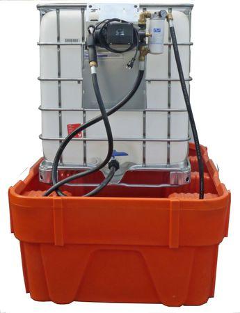 Umfüllpumpe für Hydrauliköle aus Gitterbox IBCs mit Filtersystem. 230V Pumpe Viscomat 70, 4m Zapfschlauch, Montagekonsole zu Einhängen an die Gitterbox, Saugschlauch zur Bodenentnahme, manuelles Zapfventil, 25µ Wechselfilter, Manometer – Bild 1