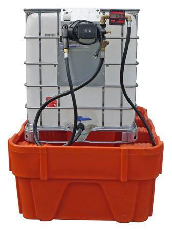 Pumpenset zum Umfüllen von Hydraulikölen aus Gitterbox IBCs. 230V Pumpe Viscomat 70, 4m Zapfschlauch, Montagekonsole zu Einhängen an die Gitterbox, Saugschlauch zur Bodenentnahme, manuelles Zapfventil, mit Digitalzählwerk – Bild 1