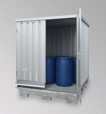 Sicherheitslagerhaus mit natürlicher Be/Entlüftung 2x2m verzinkt, kompl. montiert, mit Doppeltür und DiBt Zulassung, Auffangvolumen 660l