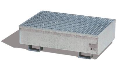 Auffangwanne RSW-2 aus feuerverzinktem Stahl für 2 x 200l Fass, mit verzinktem Gitterrost, Auffangvolumen 210l – Bild 1