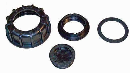 """1 x Überwurfmutter S100x8 IG schwarz, offen, 1 x Gewindebuchse Spund G2"""" IG 1 x Dichtung flach NBR 40, Stutzendichtun schwarz, Abm.: 83/64,5x4,3mm, 1 x Deckel, schwarz 2""""AG"""