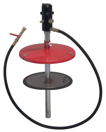 pneuMATO-fill-d 10 kg stationär, pneumatisches Füllgerät für Zentralschmieranlagen, mit Folgekolben 236/204 mm, Zentrierdeckel, 2 m Schlauch DN12 und ZSA-Kupplung