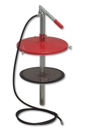 Manuelles Hochdruck Abschmiergerät Bucket-Greaser für 50kg Fettgebinde, Schraubdeckel 430 mm, Folgeplatte 392/340 mm, 2m Gummipanzerschlauch, 4-Backen-Hydraulik-Greifmundstück.