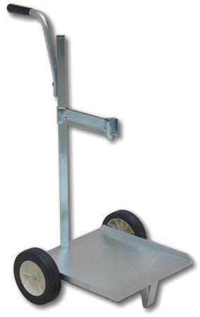 Fahrwagen für Füllgeräte und pneumatische Fettpumpen zur Aufrüstung zu mobilen Systemen für 10-50 kg Fetteimer, mit Pumpwerkhalter und Griff, stabile, verzinkte Ausführung