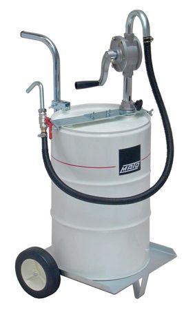 Aluminium-Kurbelpumpe RP100-M mit Fahrwagen, Pumpenhalter, 1,2m Abgabeschlauch mit Kugelhahn und Auslauf Getriebeöl