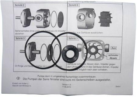 Reparatursatz Dichtungen für ZUWA Impellerpumpe Nirostar 2000-A und B: 2 x O-Ring NBR 56-2, 1 x Wellendichtring NBR 14x26x