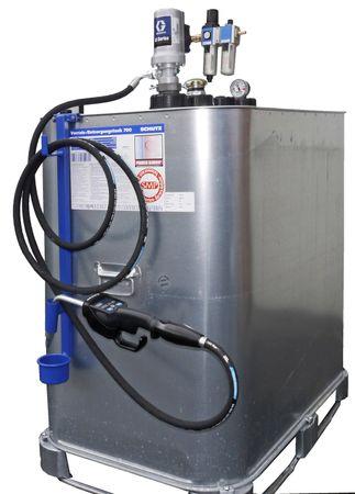Frischöl Kompaktanlage : 700l VET Tank, pneumatische GRACO Pumpe 3:1, 4m Zapfschlauch, Zapfventil mit Digitalanzeige und programmierbarer Mengenvorwahl, Tropfbecher
