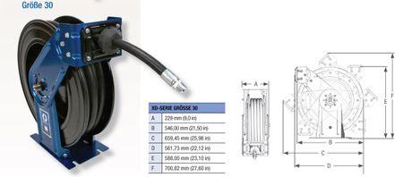 """Automatischer Schlauchaufroller GRACO® Serie XD 30 Hochleistungs Schlauchtrommel für extreme Belastungen. Geeignet für 15m 3/4"""" bzw. 9m 1"""" Schlauch, produktberührte Teile aus Edelstahl. inkl. 15m Schlauch – Bild 4"""