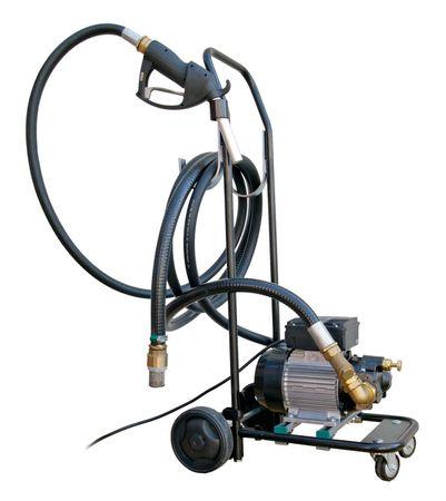 Fahrbare Umfüllpumpe für Hydrauliköle, leistungsstarke 230V Ölpumpe max. 25l/min., Fahrgestell, 4m Saugschlauch, Schmutzfänger, 3m Zapfschlauch, Zapfventil