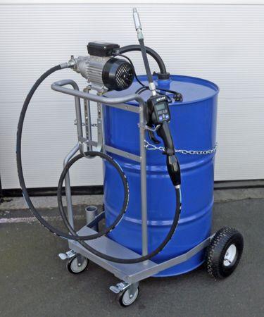 Fahrwagen für 200 Liter Fass m. 2 feststellbaren Lenkrollen u. 2 Bockrollen, 230V Zahnradpumpe Viscomat 200, GRACO® Vorwahlzähler LDP5-F, 3m Ölschlauch – Bild 1