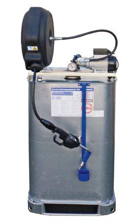 Frischöl Kompaktanlage : 700l VET Tank, 230V Zahnradpumpe EZP 200, automatischer Schlauchaufroller mit schwenkbarer Halterung u.11m Ölschlauch, Handdurchlaufzähler mit programmierbarer Mengenvorwahl, Tropfbecher – Bild 1