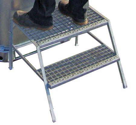 2-stufige verzinkte Trittstufe mit Gitterrosten zum sicheren Befüllen von Altölsammlern Altöltank – Bild 1