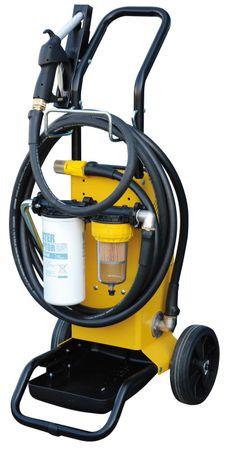FILTROLL fahrbares Doppelfiltergerät für Diesel 1. Filterstufe 30µ mit Wasserabsobtion, 2. Stufe 5µ für Verunreinigungen, Pumpe 12V max. 56 l/min, 4m Druckschlauch, 3m Saugschlauch, 4m Stromkabel, Fahrgestell, man. Zapfpistole