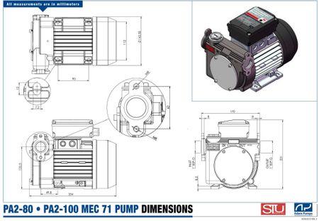"""PA2-80 trocken-selbstansaugende Dieselpumpe 230V max. 80 l/min. Bypassventil, Edelstahl Saugsieb, Anschlüsse 1"""" IG sowie 1"""" Ovalflansch druckseitig, Netzschalter, 2m Kabel mit Schukostecker. – Bild 2"""