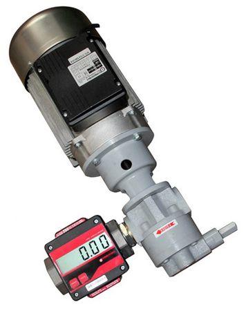 """EA65-MGE250 Selbstansaugende 230V Zahnradpumpe - Umfüllpumpe für Öle max. 55 l/min., mit Bypassventil, Anschlüsse 11/4"""", mit angeflanschtem Ovalradzähler mit LCD Anzeige (nicht eichfähig) – Bild 1"""