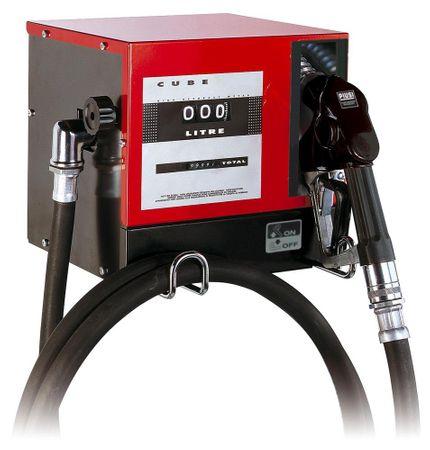 Piusi CUBE 70DC 24V Dieselpumpe im wetterfesten Metallgehäuse mit mech. Zählwerk, 4m Zapfschlauch und autom. Zapfventil