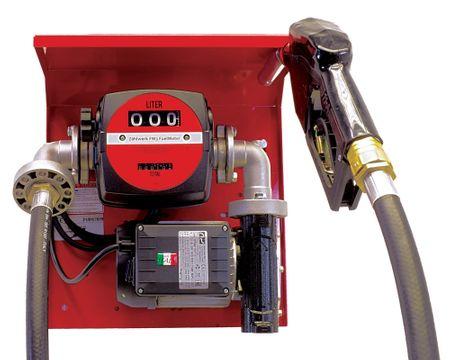 Trocken-selbstansaugende Dieselpumpe 230V max. 60 l/min., 4m Zapfschlauch, autom Zapfpistole, mechanisches Zählwerk, Wandkonsole aus lack. Stahlblech