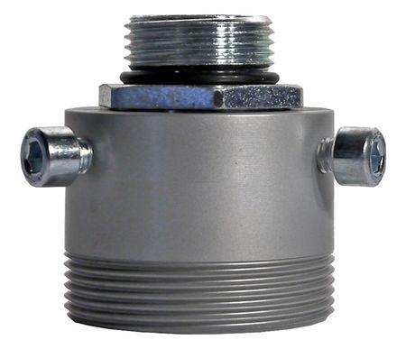 "2-teiliger Fassadapter aus Aluminium, Oberteil 1"" IG x 1"" AG mit O-Ring, Unterteil 2"" AG . – Bild 1"