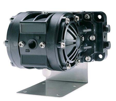 """Doppelmembranpumpe Husky 205 Modell D11026: Luftmotor: PP std., Gehäuse u. Rückschlagventile: Acetal, Membranen: Santoprene® Luftanschluss 1/4"""" IG, Material Einlass u. Auslass 1/4"""" NPT/BSP IG Lieferung inkl. 90° Montageschiene"""