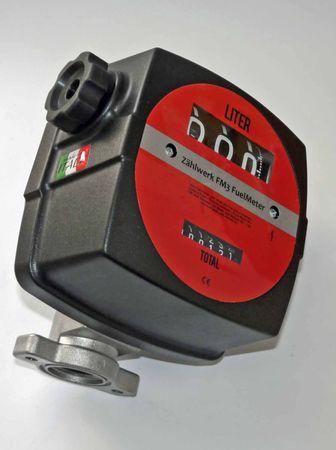 """Mechanisches Zählwerk, für Diesel und Heizöl EL, 10-120 l/min, Anzeige: 3-stellig rückstellbar, 6-stelliger Summenzähler, Anschlüsse: 1"""" IG, Durchflussrichtung: Eingang links Ausgang rechts, nicht eichfähig. – Bild 2"""