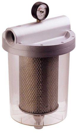 """FG-150 Transparent 5µ Microfilter für hohe Förderleistung bis 160 l/min, Anschlüsse 11/2"""" IG, Manometer, Filtereinsatz für Diesel und Benzin, Ablassventil für Schmutz und Kondenswasser, autom. Überdruckventil – Bild 1"""