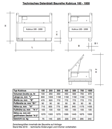 KUBICUS 450 einwandiger Transportbehälter aus Stahl, nach Handwerkerregelung gem. ADR1.1.3.1c. Inhalt ca. 449l, pulverbeschichtet, abschl. Stahldeckel, ohne Pumpenset. – Bild 5