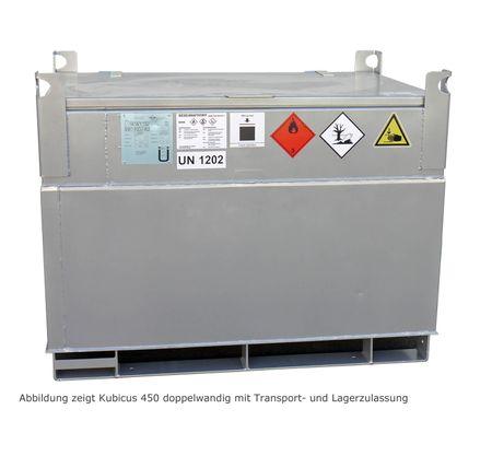 KUBICUS 450 einwandiger Transportbehälter aus Stahl, zugelassen als Verpackung ohne wiederkehende Prüfungen. Inhalt ca. 449l, pulverbeschichtet, abschl. Stahldeckel, ohne Pumpenset. – Bild 1