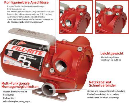Fill-Rite ATEX Benzinpumpe RD1212BN - 12V Fasspumpe im Set für Benzin und Diesel. Förderleistung max. 45 l/min, Pumpe mit 3m Batteriekabel und Erdungsanschluss, Saugrohr, Abgabeschlauch, manuelle Zapfpistole – Bild 2