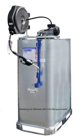 Elektrische Frischöl Kompaktanlage : 1000l VET Tank, 230V Zahnradpumpe EZP 200 mit Druckschalter, autom. Schlauchaufroller mit schwenkbarer Halterung, 11m Ölschlauch, Handdurchlaufzähler mit starrem Auslauf