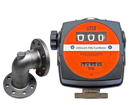 Mechanisches Diesel-Zählwerk Modell FM-3 mit Anbauteilen passend für Kubicus® Transportbehälter