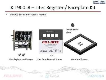 Ersatzteil: KIT900LR, Liter Register für Serie 900 Zählwerk, mit Deckel, Frontplatte, Antriebsrad, Schrauben