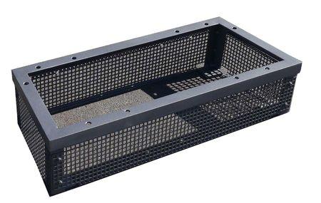 Montagekonsole für Horn HDM-pro Doppel-Zapfsäulen aus Stahl S235, konisch zugeschnitten, mattschwarz lackiert, umlaufendes Lochblech, Abm. ca.: 915 x 384 x 200 mm (LxBxH) – Bild 1
