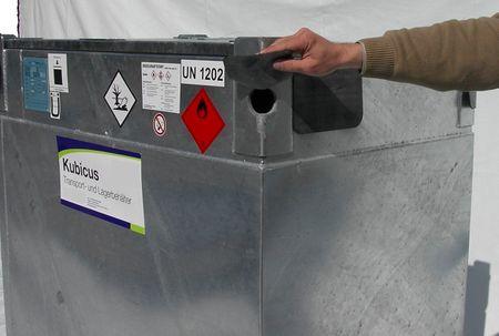 KUBICUS®1000 Doppelwandiger Transport- und Lagerbehälter aus Stahl mit ADR + KVU Zulassung zum Transport von Diesel, Heizöl, Benzin und Sonderkraftstoffen. Volumen 940 Liter Leergewicht 342 kg – Bild 5