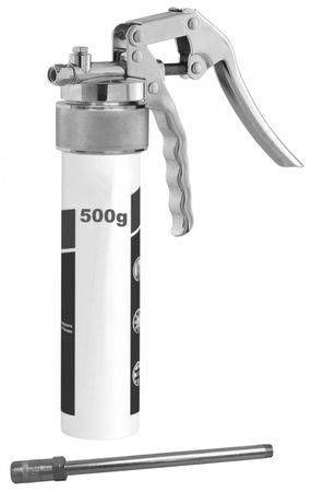 """Mato Einhandfettpresse TG-LS500 für 500g Schraubkartusche Typ """"Reiner"""", ergonomisch geformtes Hebelwerk mit 2 Anschlüssen M10x1 (horizontal + vertikal ), mit Düsenrohr und 4 Backen Mundstück"""