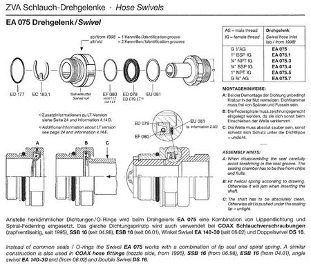 Dichtungspaket, Dichtungs-Set für Elaflex Drehgelenk EA075 passend Zapfventil ZVA 2, passend ab BJ 1998  – Bild 2