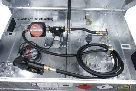 12V Dieselpumpenset für Kubicus 350-1000: 12V Pumpe 60l/min, 4m Batteriekabel mit Klemmen und Sicherung, 4m Zapfschlauch, autom. Zapfpistole mit EN-Bauartzulassung. Inkl. Einbau bei gleichzeitigem Kauf eine Kubicus 350-1000 Behälters  – Bild 1