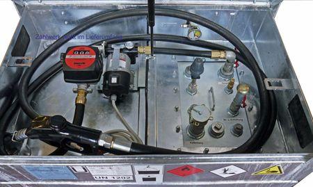 12V Dieselpumpenset für Kubicus 350-1000: 12V Pumpe 85l/min, 4m Batteriekabel mit Klemmen und Sicherung, 4m Zapfschlauch, autom. Zapfpistole mit EN-Bauartzulassung. Inkl. Einbau bei gleichzeitigem Kauf eine Kubicus 350-1000 Behälters